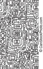 rectangles., griffonnage, tribal, seamless, texture, arrière-plan., boho, vecteur, noir, modèle, blanc