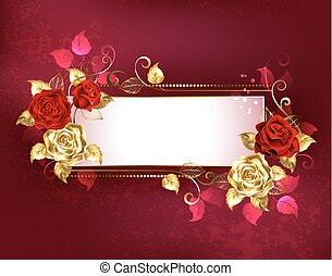 Rectangular banner with red roses