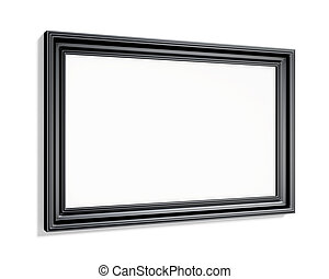 Rectangular black picture frame on a white background. 3d render