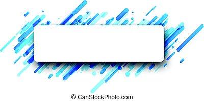 Rectangular blue abstract banner on white.