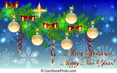 Rectangular blue christmas background with snowflakes, coniferous branches, decorated with red balls, stars