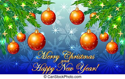 Rectangular blue christmas background with snowflakes, coniferous branches, decorated with red balls, stars. The inscription Merry Christmas and a Happy New Year