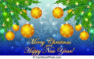 Rectangular blue christmas background with snowflakes, coniferous branches, decorated with yellow balls, stars. The inscription Merry Christmas and a Happy New Year
