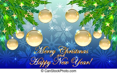 Rectangular blue christmas background with snowflakes, coniferous branches in corners, decorated with golden balls, stars. The inscription of Merry Christmas and a Happy New Year