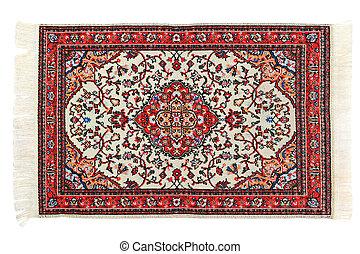 Rectangular bright carpet horizontally lies on white...