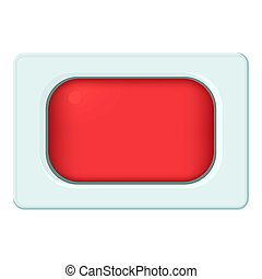 Rectangular button icon, cartoon style