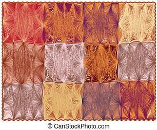 Rectangular carpet with grunge striped wavy colorful square elements and fringe