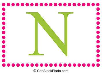 Rectangular Dots Monogram N