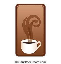 rectangular emblem with hot cup of coffee