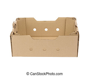 rectangular empty cardboard box of brown paper on a white background