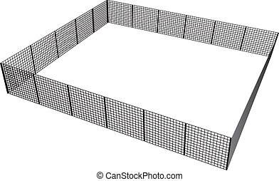 Closed rectangular fence of mesh sections. Vector illustration.