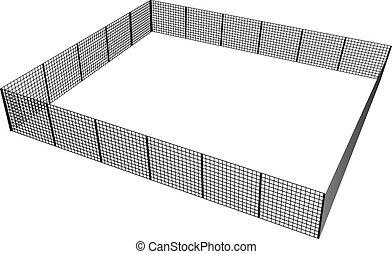 Rectangular fence - Closed rectangular fence of mesh ...