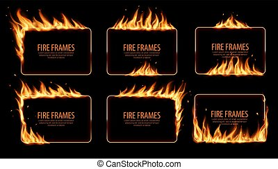 Rectangular fire frames, vector burning borders. Realistic burn flame tongues with flying particles and embers on rectangular frame edges. 3d flare. Burned holes in fire, isolated blazing borders set