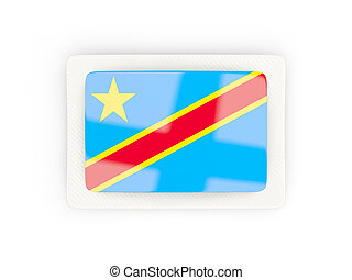 Rectangular flag of democratic republic of the congo with carbon frame