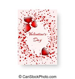 Rectangular flyer with scarlet hearts - Heart background...