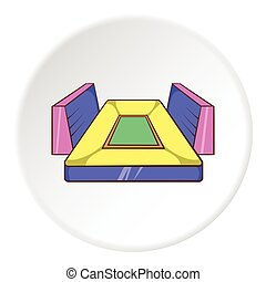 Rectangular football stadium icon, cartoon style