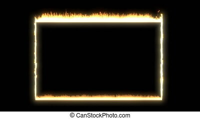 Rectangular frame fire on black able to loop seamless