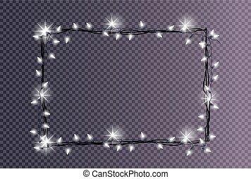 Rectangular Frame Made Christmas Lights Sparkling