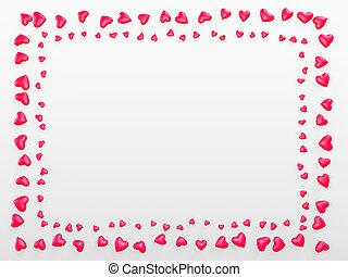 Rectangular frame of red hearts on a white background. Valentine's Day. 3d render illustration