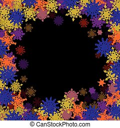 Rectangular frame with colorful small snowflakes