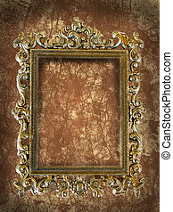 rectangular frame with intricate work on a grunge wall