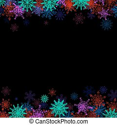 Rectangular frame with small colorful snowflakes