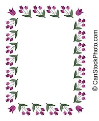 Rectangular frame with tulip flowers on a white background. Vector image for your design, greeting cards, save the date