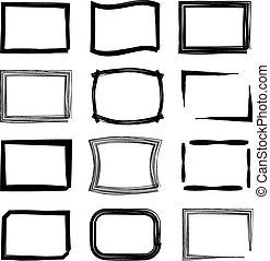 Rectangular frames. Felt-tip pen and marker style vector set