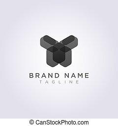 Rectangular Geometric Logo Icon Design in the shape of a human