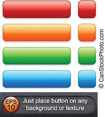 Rectangular glossy buttons.