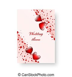 Rectangular greeting card with scarlet hearts - Romantic...