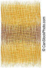 Rectangular grunge striped woven rustic rug, mat, carpet, plaid  with fringe in orange, brown, yellow  colors isolated on white