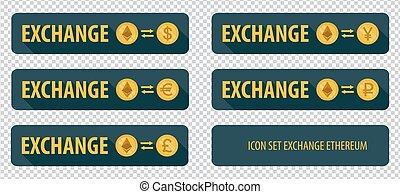 rectangular horizontal buttons exchange cryptocurrency Ethereum