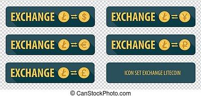 rectangular horizontal buttons exchange cryptocurrency Litecoin