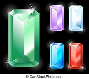 rectangular jewels - Gems rectangular, elongated cut:...