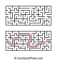 Rectangular labyrinth with a black stroke. A game for...