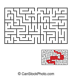 Rectangular labyrinth with an input and an exit. Simple flat vector illustration isolated on white background. With the correct answer.