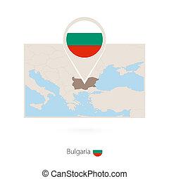 Rectangular map of Bulgaria with pin icon of Bulgaria