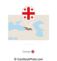 Rectangular map of Georgia with pin icon of Georgia