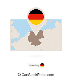 Rectangular map of Germany with pin icon of Germany