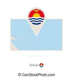 Rectangular map of Kiribati with pin icon of Kiribati