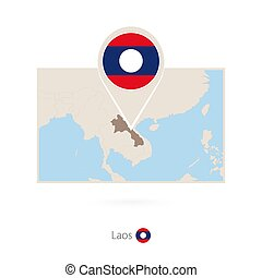 Rectangular map of Laos with pin icon of Laos