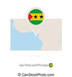 Rectangular map of Sao Tome and Principe with pin icon of Sao Tome and Principe