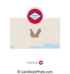 Rectangular map of US state Arkansas with pin icon of...