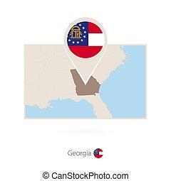 Rectangular map of US state Georgia with pin icon of Georgia