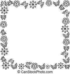 rectangular of butterflies. Abstract vector illustration