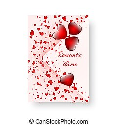 Rectangular pattern with scarlet hearts - Birthday...