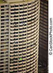 Rectangular Patterns of Windows on Round Shape  Skyscaper in Kuala Lumpur Malaysia