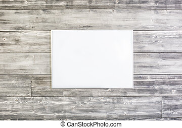 Rectangular picture frame on wooden wall. Mock up
