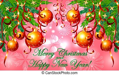 Rectangular pink christmas background with snowflakes, coniferous branches, decorated with red balls, stars, ribbons. The inscription of Merry Christmas and a Happy New Year